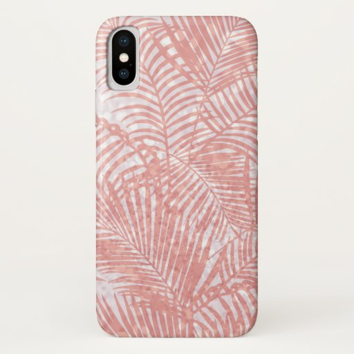 Elegant pink faux glitter coral tropical floral iPhone x case