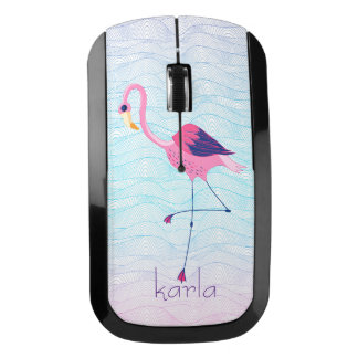 Elegant Pink Flamingo & Abstract Beach Water-Waves Wireless Mouse