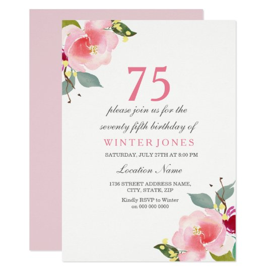 Elegant Pink Floral 75th Birthday Party Invitation