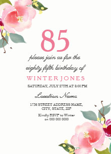 85th birthday invitations announcements zazzle elegant pink floral 85th birthday party invitation filmwisefo