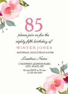 85th birthday invitations zazzle elegant pink floral 85th birthday party invitation filmwisefo