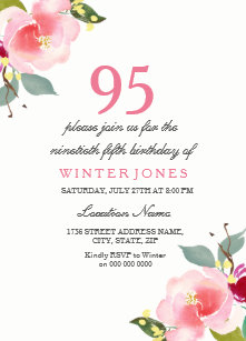 Elegant Pink Floral 95th Birthday Party Invitation