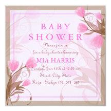 Elegant Pink Floral Baby Shower Invitation