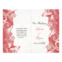 Elegant pink floral bi fold Wedding program