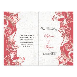 Elegant pink floral bi fold Wedding program