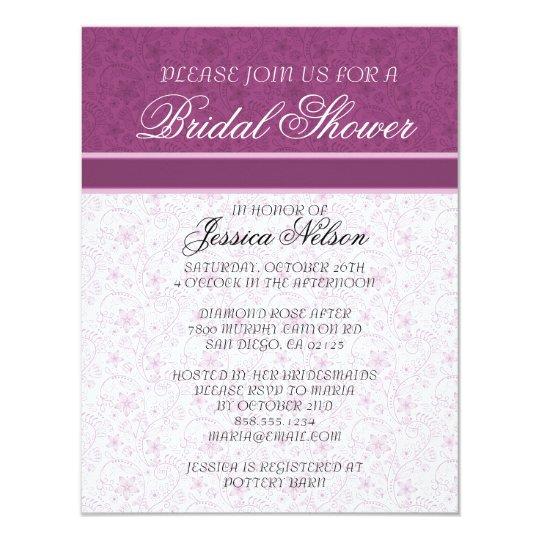Elegant Pink Floral Damask Bridal Invitation