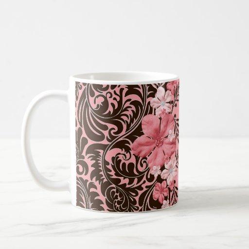 Elegant Pink Floral Damask Mug Coffee Mugs
