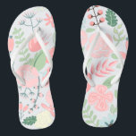"""Elegant Pink Floral Flip Flops<br><div class=""""desc"""">Delicate and sweet floral illustration perfect for spring,  summer,  as well as for bride,  bridesmaids,  mother of the bride,  mother of the groom,  maid of honor,  flower girl gifts,  and more!</div>"""