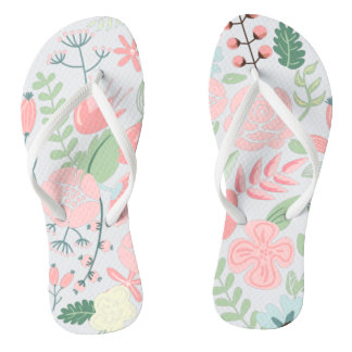 Elegant Pink Floral Flip Flops