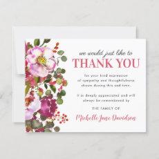 Elegant Pink Floral Funeral Thank You