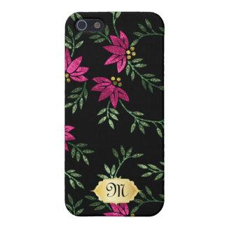 Elegant Pink Floral Glitter Phone Cover iPhone 5 Case