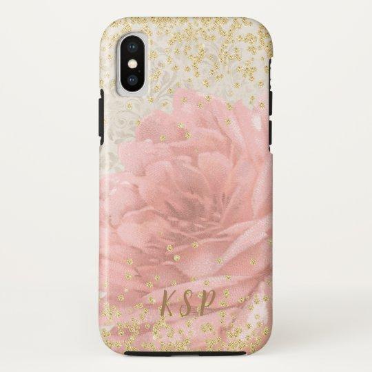 Elegant Pink Floral Gold Glitter Ivory Monogram Case Mate Iphone Case Zazzle Com