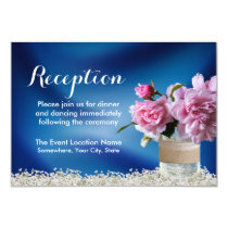 Elegant Pink Floral Jar Navy Wedding Reception Card