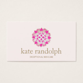 Elegant Pink Floral Mandala Beauty Salon and Spa Business Card