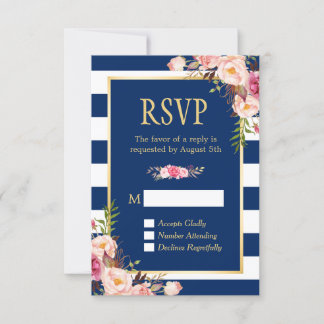 Elegant Pink Floral Navy Blue Stripes Reply RSVP