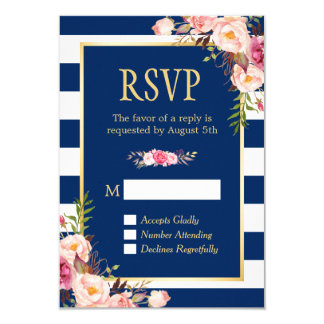 Elegant Pink Floral Navy Blue Stripes Reply RSVP Card