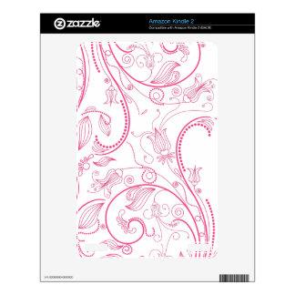 Elegant Pink Floral Pattern Kindle 2 Decals