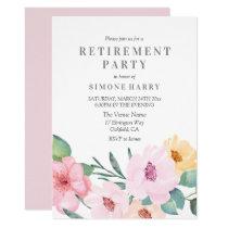 Elegant Pink Floral Retirement Party Invitation