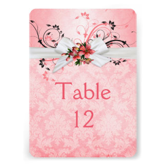 Elegant Pink Floral Ribbon Damask Table card
