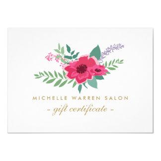 Elegant Pink Floral Salon Gift Certificate Card