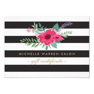 Elegant Pink Floral Striped Salon Gift Certificate Card