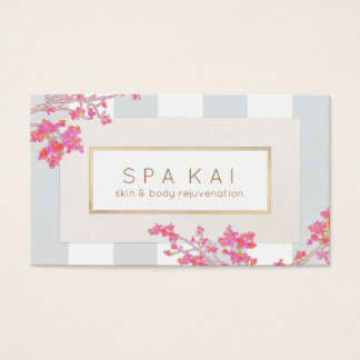 Elegant Pink Floral Stripes Beauty Salon and Spa Business Card