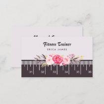 Elegant Pink Floral Tape Measure Fitness Trainer Business Card