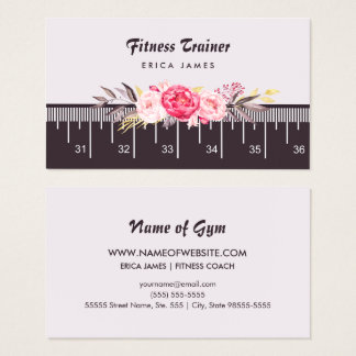 Elegant Pink Floral Tape Measure Fitness Trainer Business Card