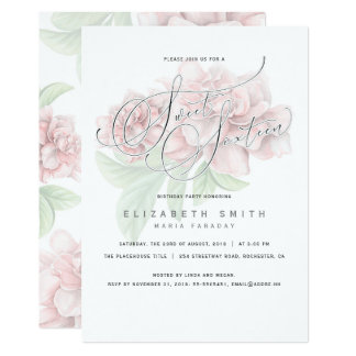 Elegant Pink Floral Typography Sweet 16 Birthday Card