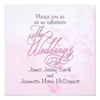 Elegant Pink FloralWedding Swashes Invitation Card