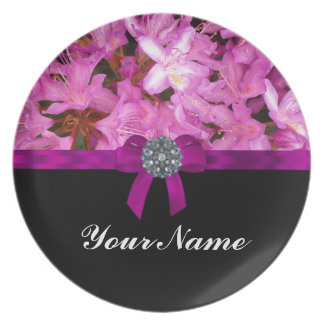 Elegant pink flower & bow party plates