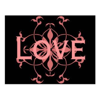 Elegant pink flower on black Love post card
