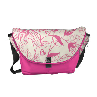 Elegant pink Flower Pattern Courier Bag