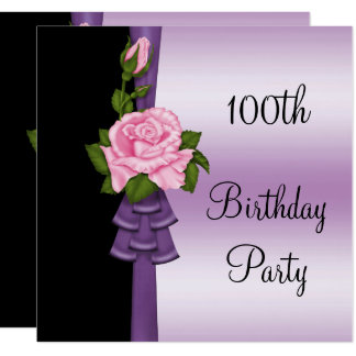 Elegant Pink Flower & Purple Ribbon 100th Birthday Card