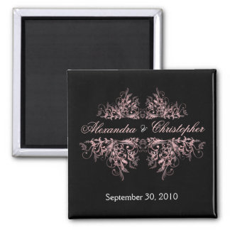 Elegant Pink Flower Swirls Save The Date Wedding 2 2 Inch Square Magnet