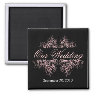 Elegant Pink Flower Swirls Save The Date Wedding 2 Inch Square Magnet