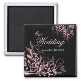 Elegant Pink Flower Swirls Save The Date Wedding 2 Inch Square Magnet