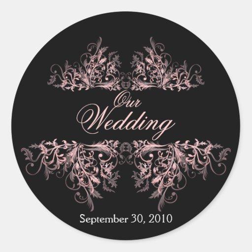 Elegant Pink Flower Swirls Save The Date Wedding Classic Round Sticker