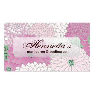 Elegant Pink Flowers Floral Vector Pattern Business Card