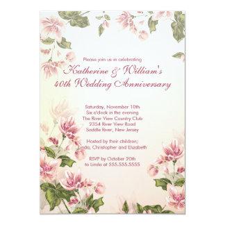 Elegant Pink Flowers Floral Wedding Anniversary 5x7 Paper Invitation Card