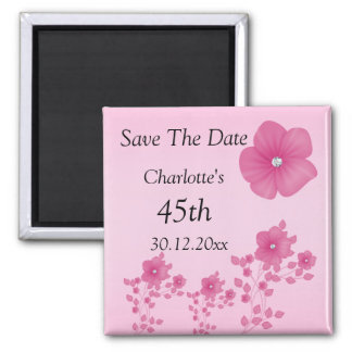 Elegant Pink Flowers With Diamonds 2 Inch Square Magnet