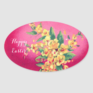 ELEGANT PINK FUCHSIA EASTER EGG AND YELLOW FLOWERS OVAL STICKER