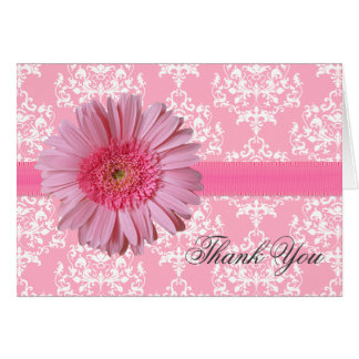 Elegant Pink Gerber Daisy Thank You Card