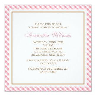 Elegant Pink Gingham Pattern Baby Shower Card