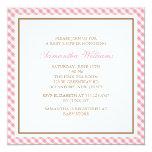 Elegant Pink Gingham Pattern Baby Shower Custom Invitation