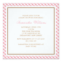 Elegant Pink Gingham Pattern Baby Shower Invitation