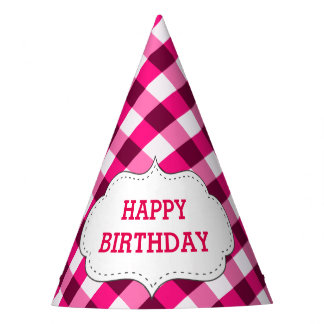 Elegant Pink Gingham Pattern Personalized Birthday Party Hat