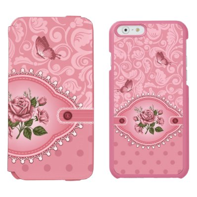 Elegant Pink Girly Cute Polka Dots Damask Pattern iPhone 6/6S Wallet Case
