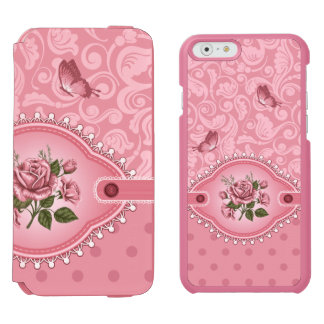 Elegant Pink Girly Cute Polka Dots Damask Pattern Incipio Watson™ iPhone 6 Wallet Case