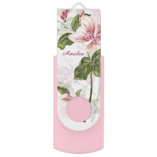 Elegant Pink Girly Floral Personalized Flash Drive